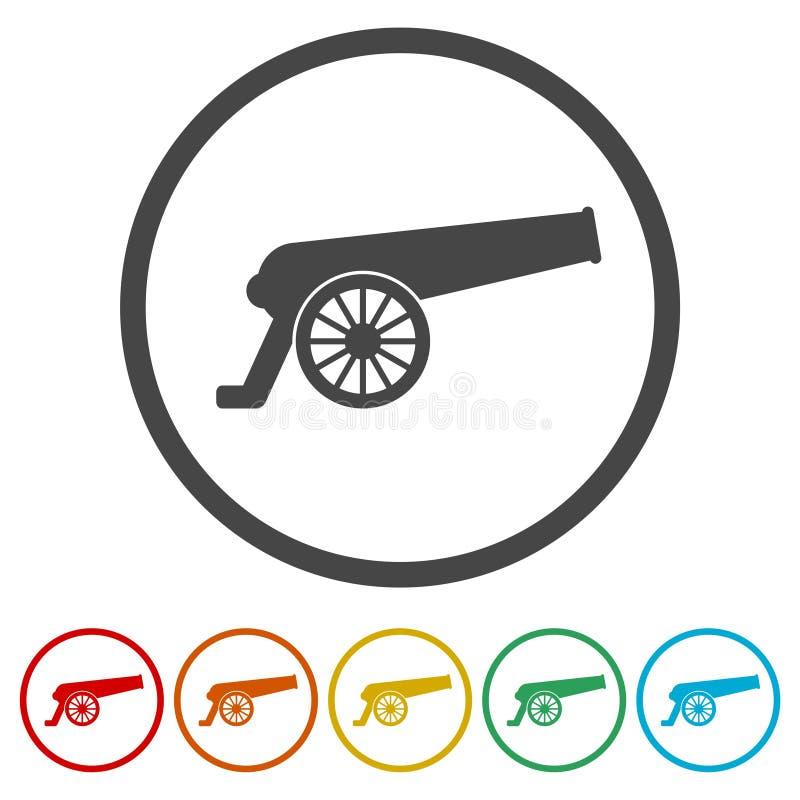 Icona del cannone, 6 colori inclusi royalty illustrazione gratis