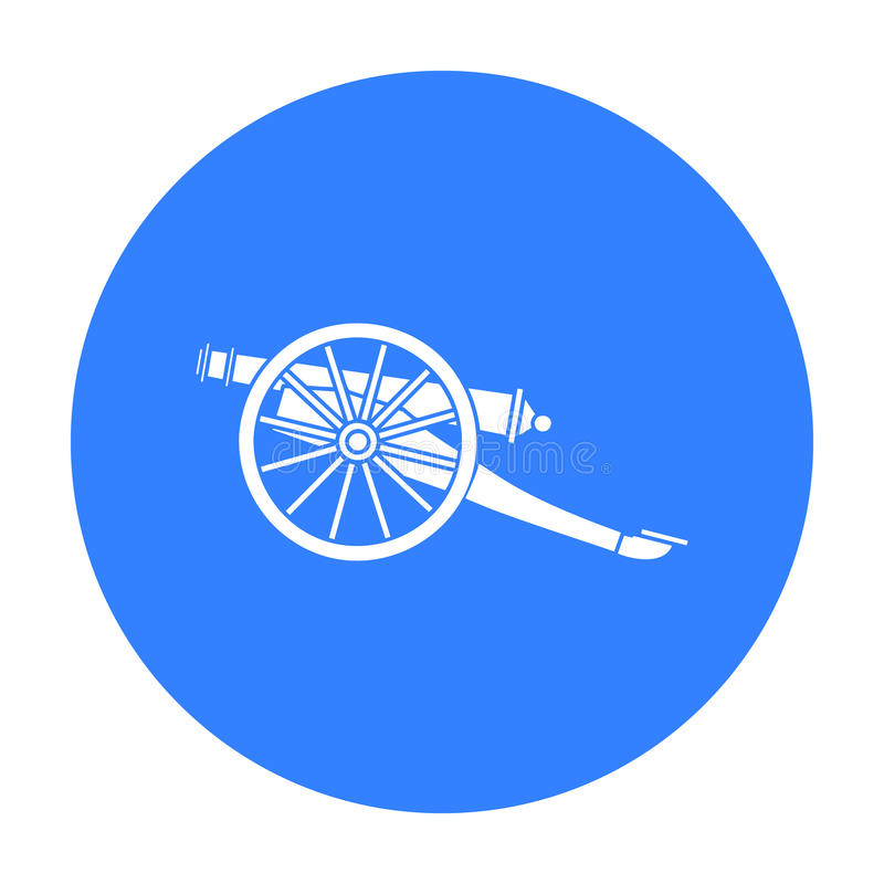 Icona del cannone nello stile nero isolata su fondo bianco Illustrazione di vettore delle azione di simbolo del museo illustrazione di stock