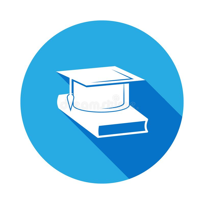 Icona del cappello del celibe e del libro con ombra lunga Icona di graduazione di vettore Istruzione, grado accademico Segni, rac illustrazione di stock