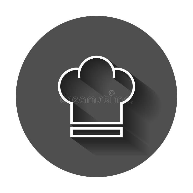 Icona del cappello del cuoco unico nello stile piano Illustrazione di vettore del cappuccio del fornello con illustrazione vettoriale