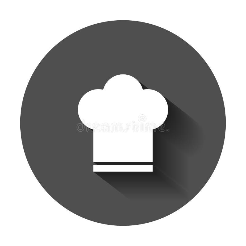 Icona del cappello del cuoco unico nello stile piano Illustrazione di vettore del cappuccio del fornello con illustrazione di stock