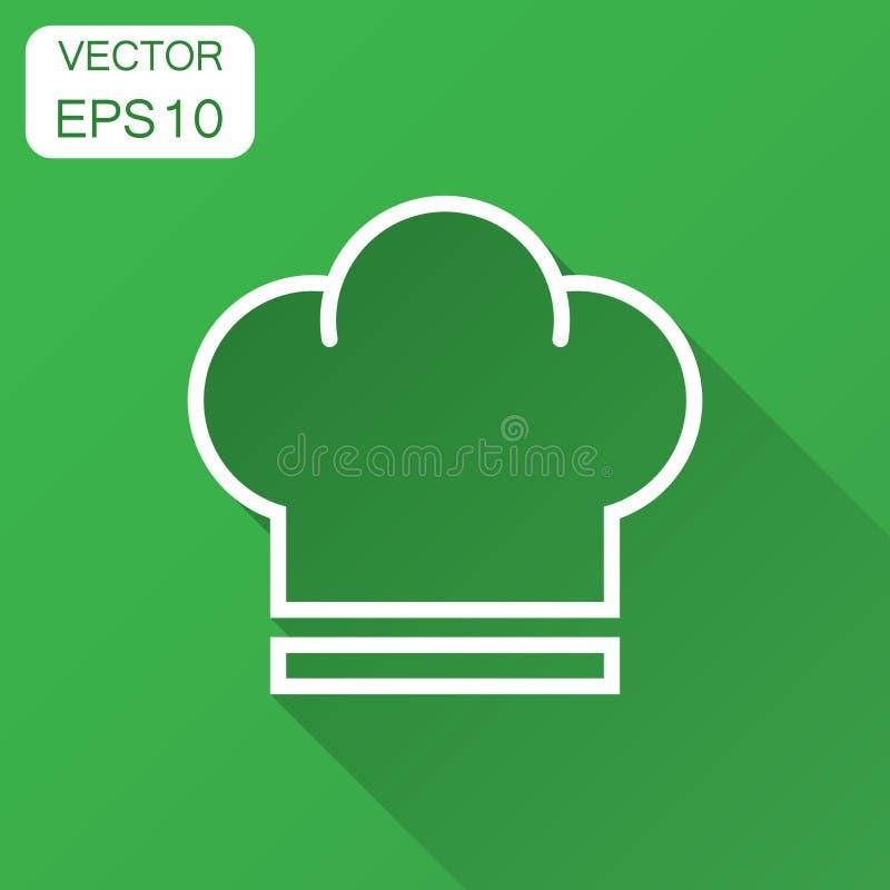 Icona del cappello del cuoco unico nello stile piano Illustrazione di vettore del cappuccio del fornello con ombra lunga Concetto royalty illustrazione gratis