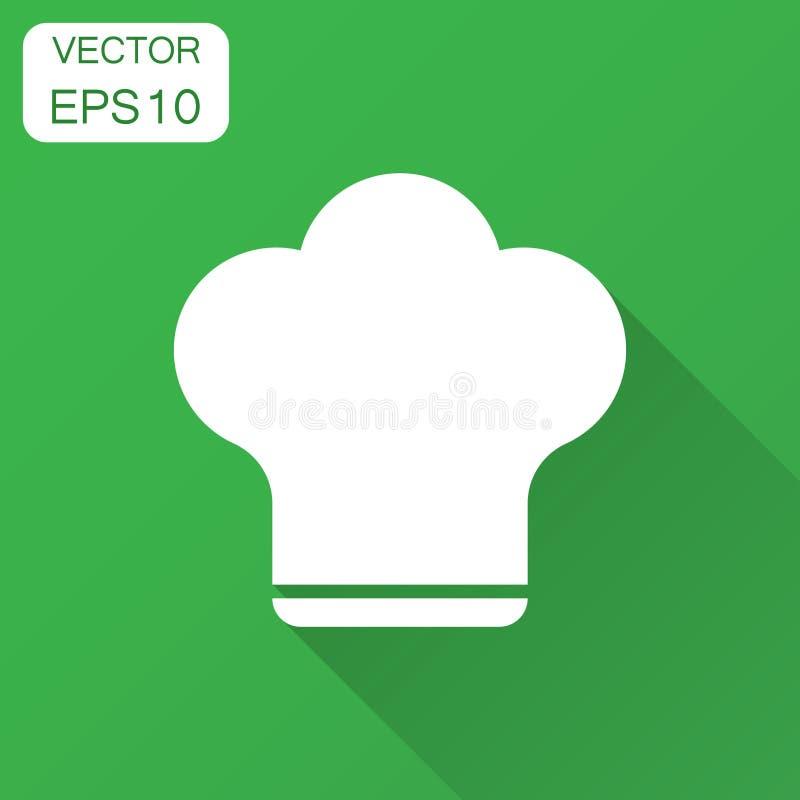 Icona del cappello del cuoco unico nello stile piano Illustrazione di vettore del cappuccio del fornello con ombra lunga Concetto illustrazione di stock