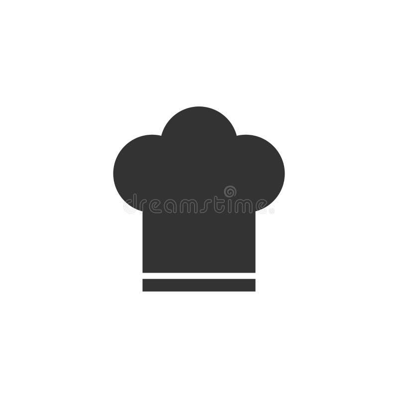 Icona del cappello del cuoco unico nello stile piano Illustrazione di vettore del cappuccio del fornello su w illustrazione di stock