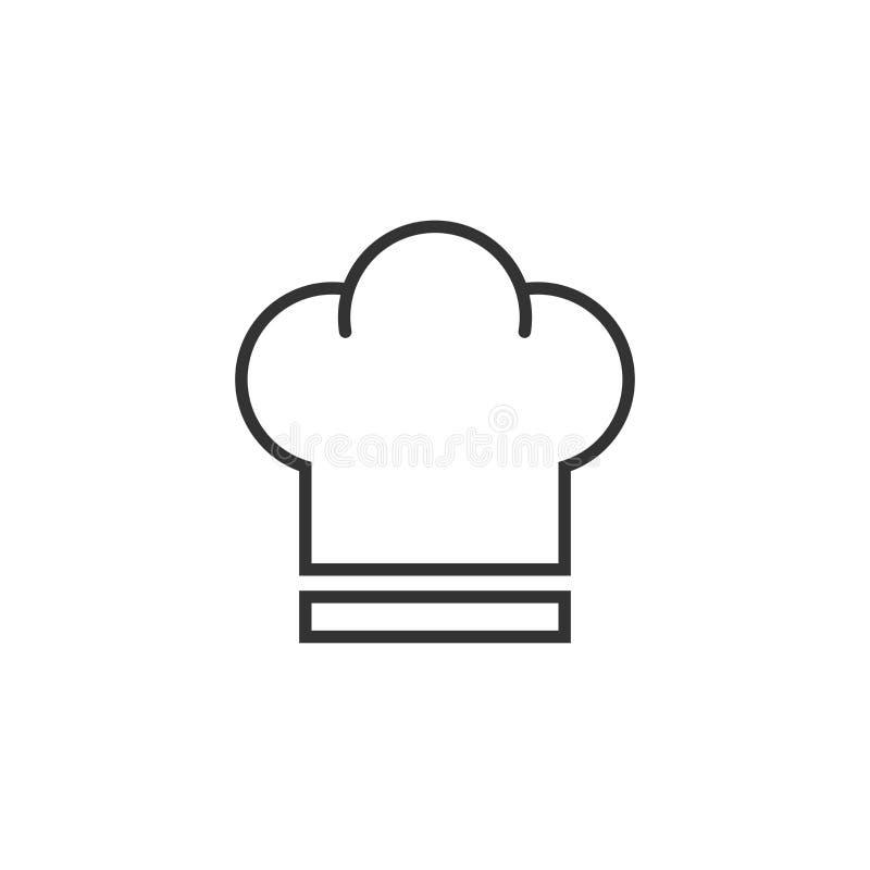 Icona del cappello del cuoco unico nello stile piano Illustrazione di vettore del cappuccio del fornello su w illustrazione vettoriale
