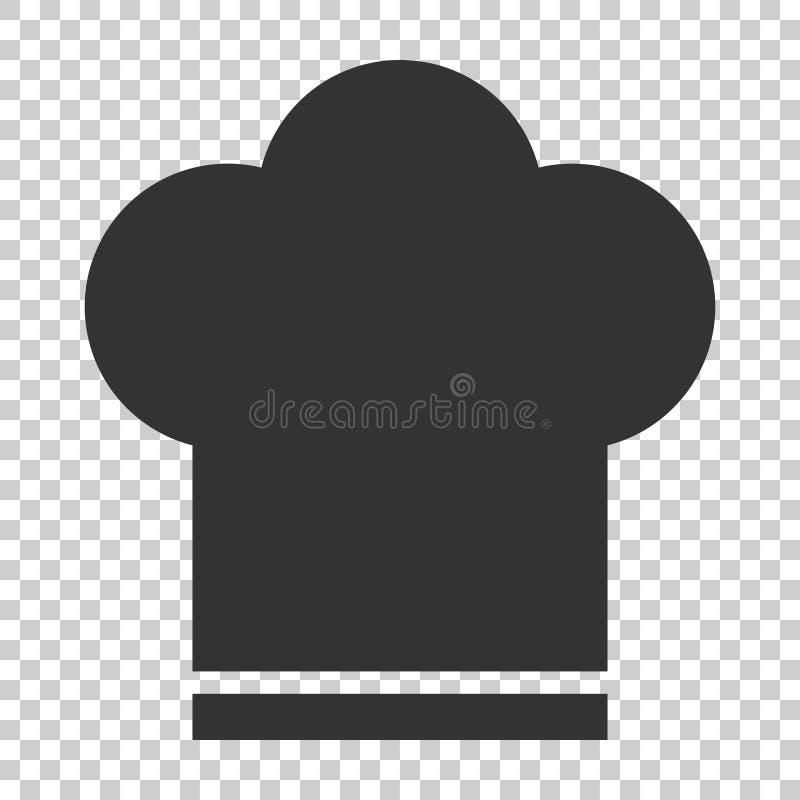 Icona del cappello del cuoco unico nello stile piano Illustrazione di vettore del cappuccio del fornello sulla i illustrazione di stock