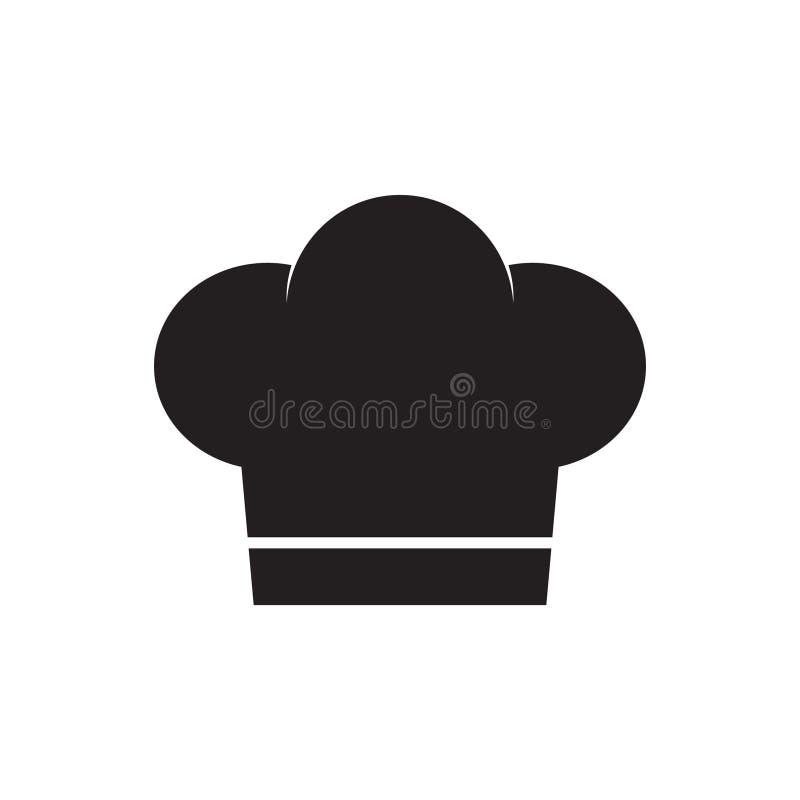 Icona del cappello del cuoco unico nello stile piano L'illustrazione di vettore del cappuccio del fornello su bianco ha isolato i illustrazione di stock