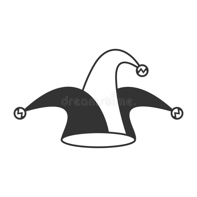 Icona del cappello del giullare su bianco royalty illustrazione gratis