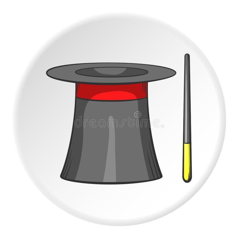 Icona del cappello del mago e della bacchetta di magia, stile del fumetto royalty illustrazione gratis