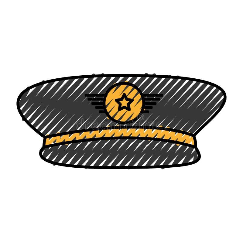 Icona del cappello dell'ufficiale di esercito illustrazione di stock
