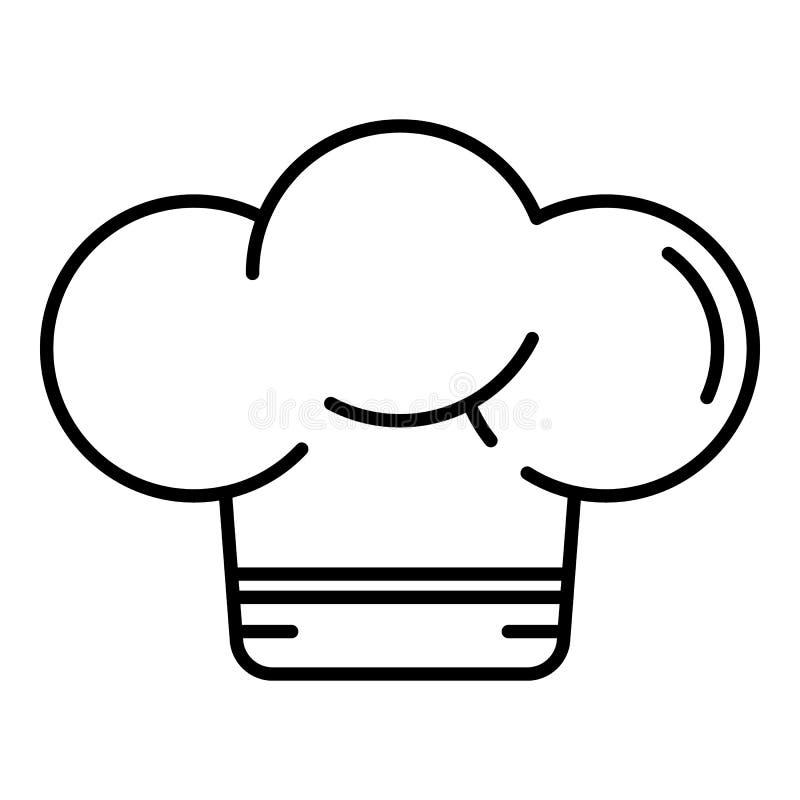 Icona del cappello del fornello, stile del profilo illustrazione vettoriale