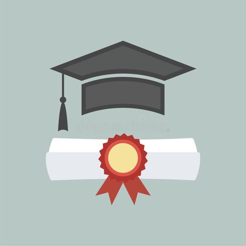 Icona del cappuccio e del diploma di graduazione illustrazione di stock