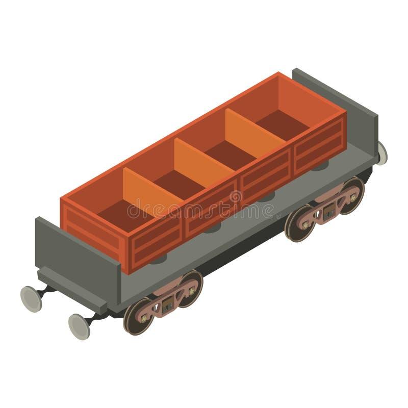 Icona del carbone del vagone, stile isometrico 3d illustrazione di stock