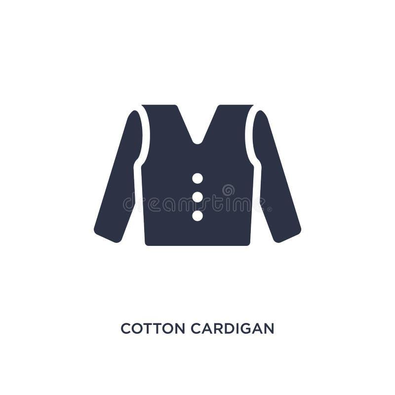 icona del cardigan del cotone su fondo bianco Illustrazione semplice dell'elemento dal concetto dei vestiti illustrazione vettoriale