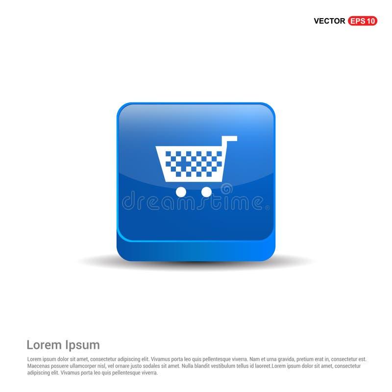 Icona del carrello - bottone del blu 3d illustrazione vettoriale