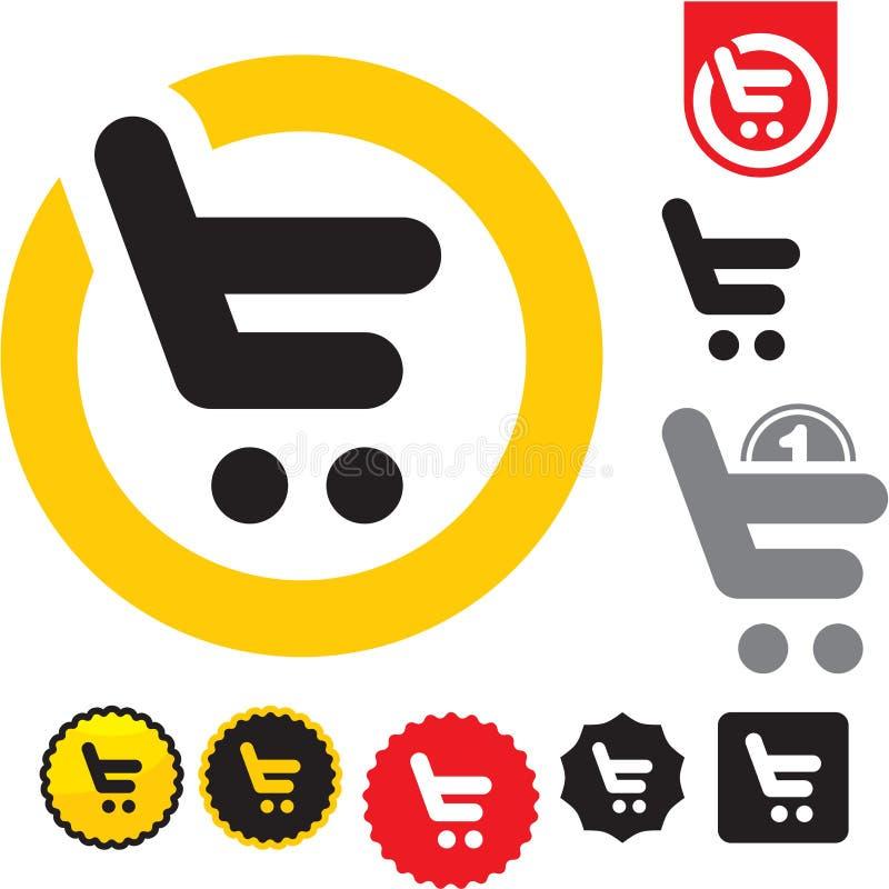 Icona del carrello di acquisto. e-acquista il segno. illustrazione di stock