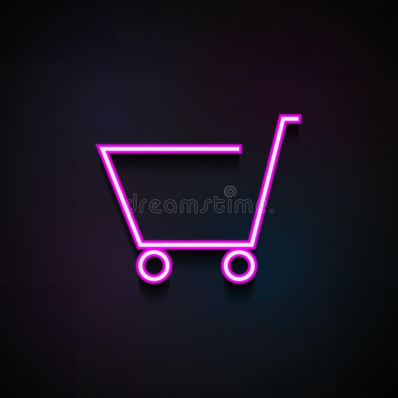 Icona del carrello di acquisto Elemento delle icone di logistica per i apps mobili di web e di concetto L'icona al neon del carre illustrazione di stock