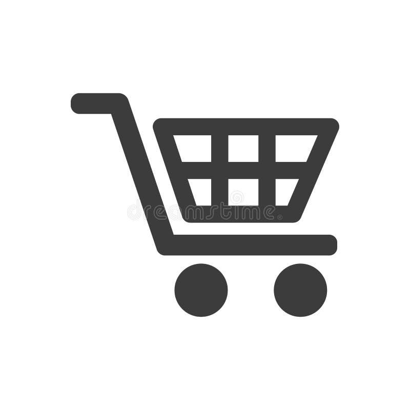 Icona del carrello di acquisto su priorità bassa bianca illustrazione vettoriale