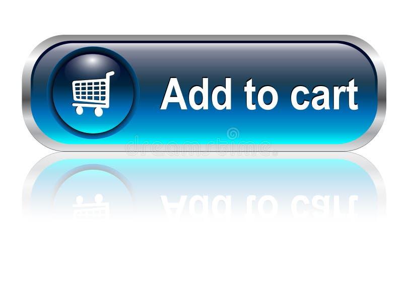 Icona del carrello di acquisto, tasto illustrazione di stock