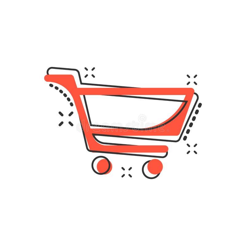 Icona del carrello del fumetto di vettore nello stile comico Segno della borsa del negozio illustrazione di stock