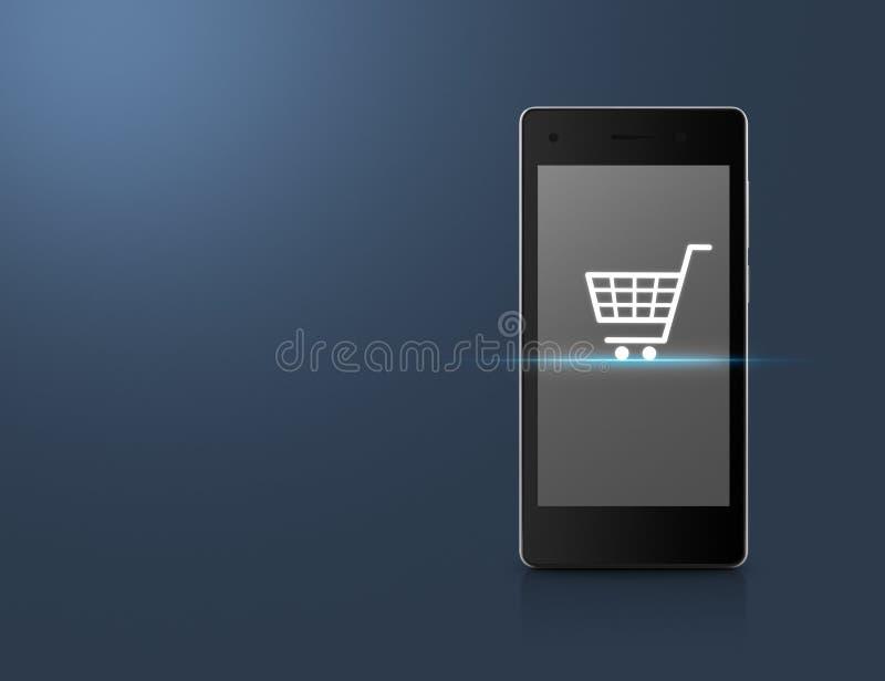 Icona del carrello sullo schermo moderno dello Smart Phone sopra blu-chiaro royalty illustrazione gratis