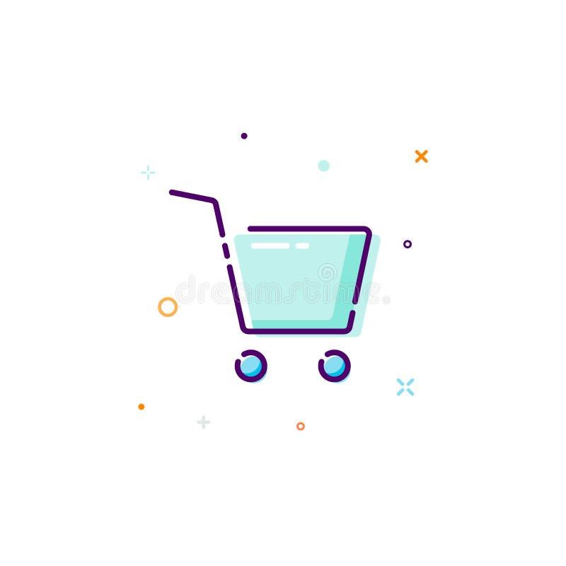 Icona del carretto di concetto Linea sottile elemento piano di progettazione Compri il concetto online Illustrazione di vettore i illustrazione vettoriale