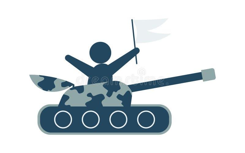 Icona del carro armato nello stile piano d'avanguardia isolata su fondo Illustrazione di vettore dell'icona del carro armato royalty illustrazione gratis