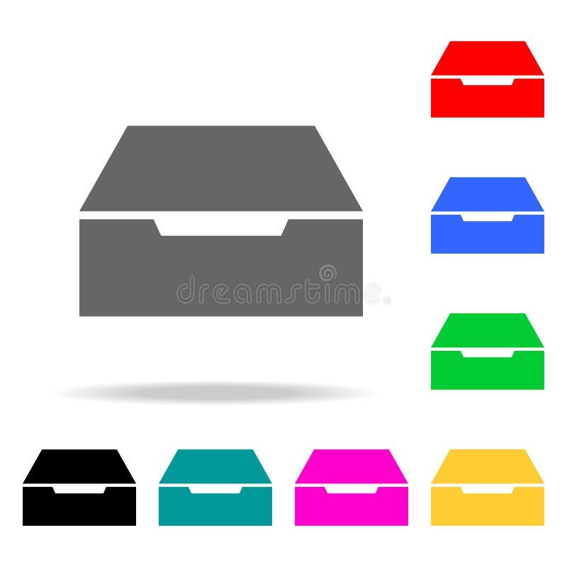 Icona del cassetto Elementi nelle multi icone colorate per i apps mobili di web e di concetto Icone per progettazione del sito We illustrazione vettoriale