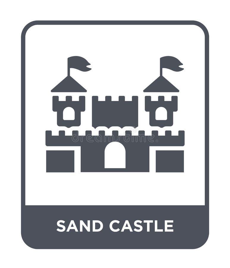 icona del castello della sabbia nello stile d'avanguardia di progettazione icona del castello della sabbia isolata su fondo bianc royalty illustrazione gratis
