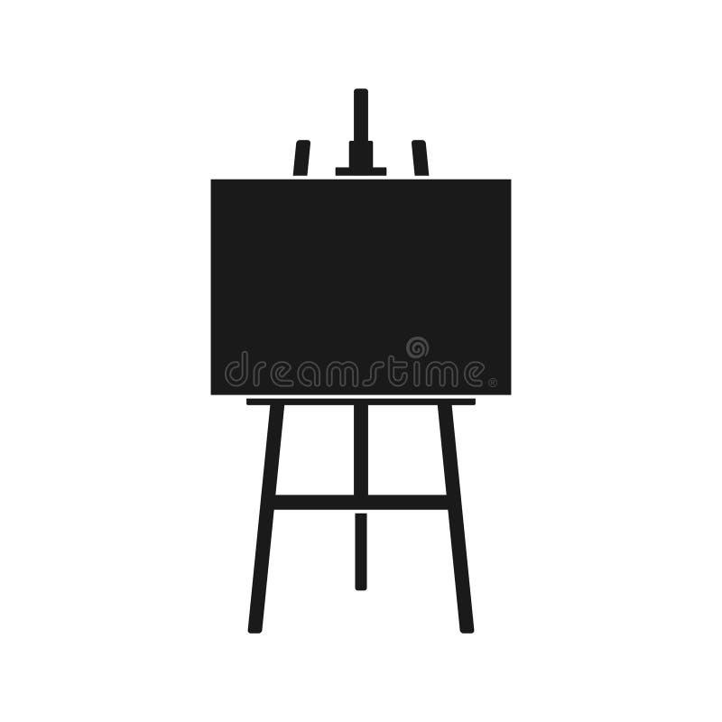 Icona del cavalletto o bordo di legno di arte della pittura con tela isolata su fondo bianco Cavalletto con gli strati di carta S royalty illustrazione gratis