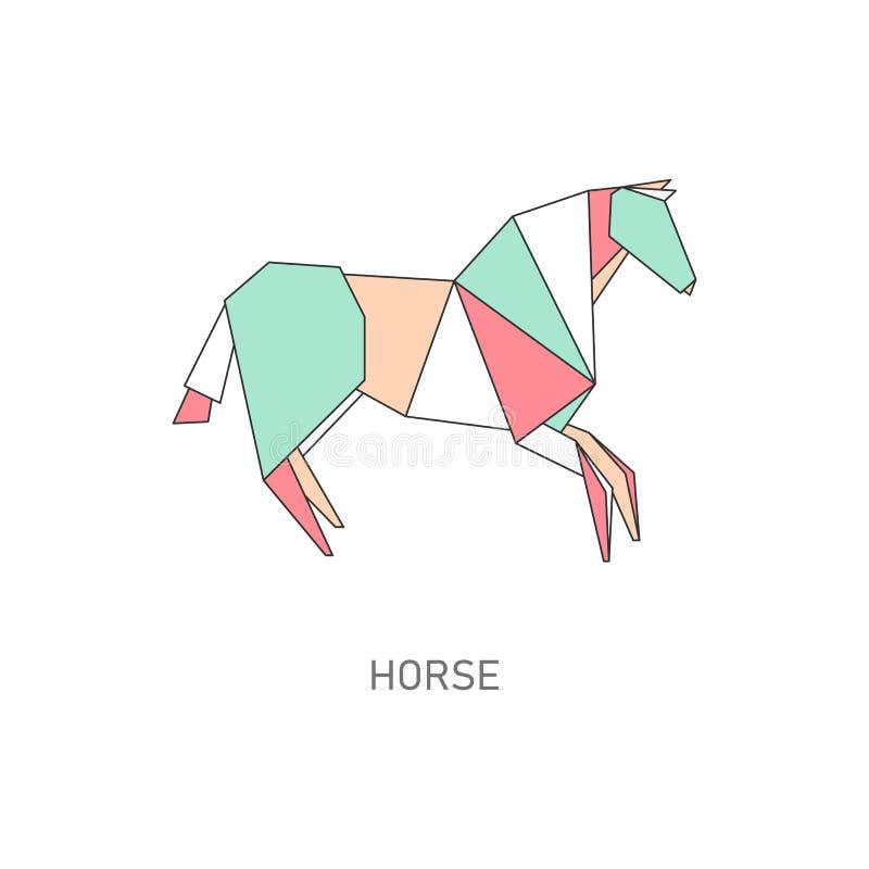 Icona del cavallo animale fatta di carta nello stile piano di origami illustrazione di stock