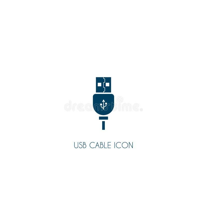 Icona del cavo di USB Simbolo di vettore isolato su fondo bianco illustrazione di stock