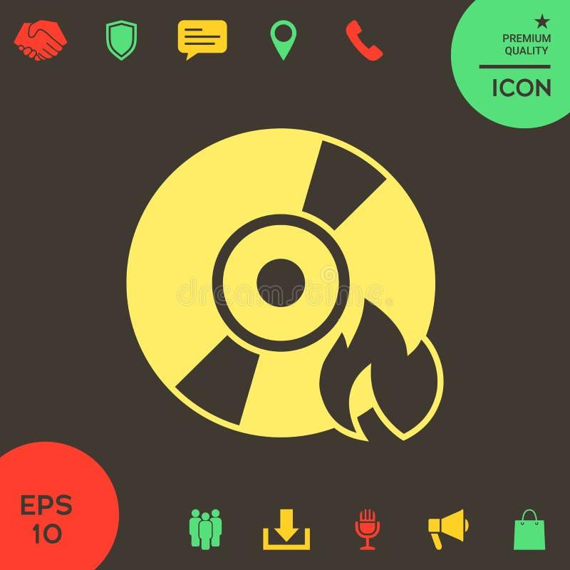 Icona del CD o di DVD dell'ustione illustrazione di stock