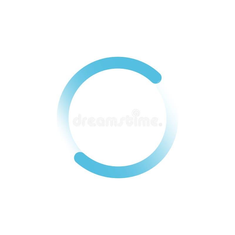 Icona del cerchio del caricatore di progresso di Internet o di web nel colore blu Illustrazione di vettore isolata su priorità ba illustrazione di stock