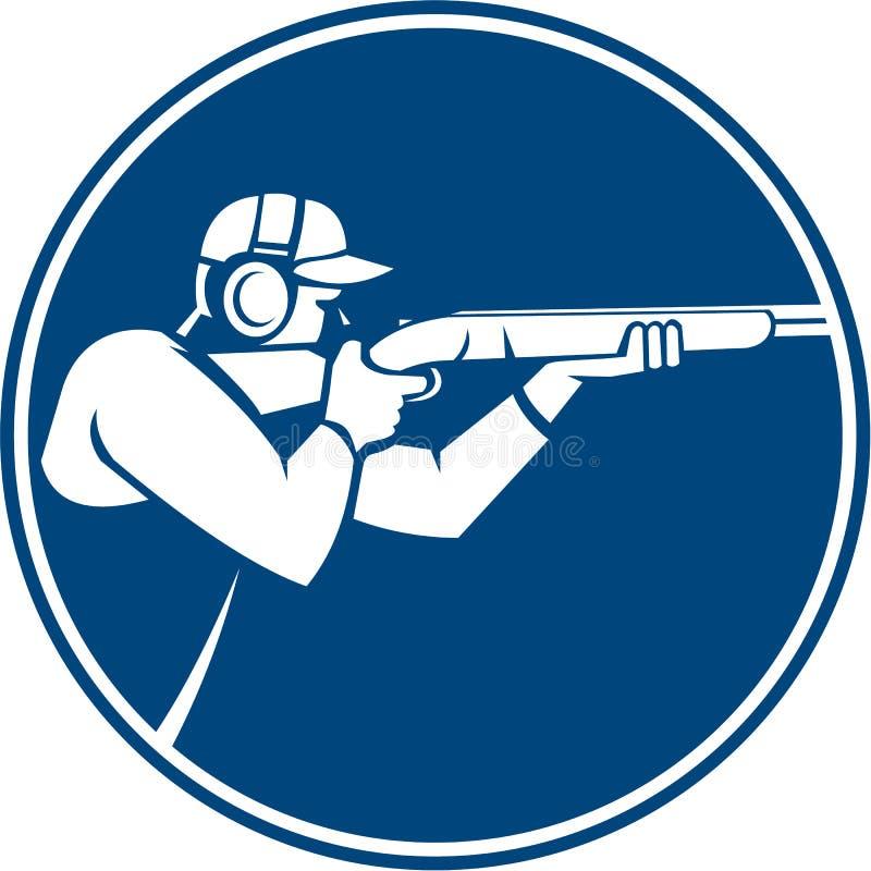 Icona del cerchio del fucile da caccia della fucilazione di trappola illustrazione di stock