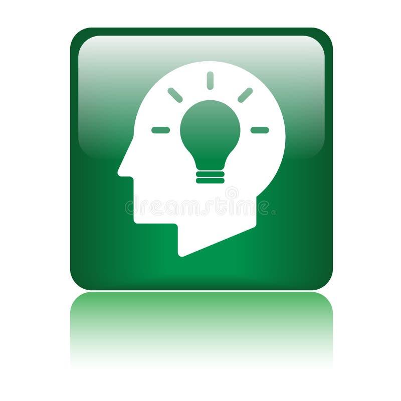 Icona del cervello della testa della lampadina di idea illustrazione vettoriale