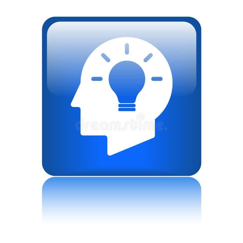 Icona del cervello della testa della lampadina di idea illustrazione di stock