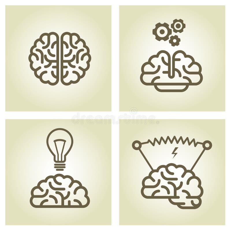 Icona del cervello - simboli di ispirazione e di invenzione illustrazione vettoriale