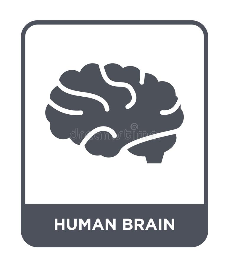 icona del cervello umano nello stile d'avanguardia di progettazione Icona del cervello umano isolata su fondo bianco icona di vet royalty illustrazione gratis
