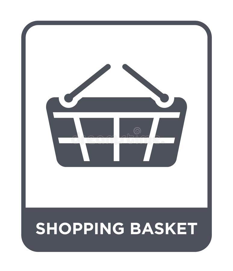 icona del cestino della spesa nello stile d'avanguardia di progettazione Icona del cestino della spesa isolata su fondo bianco ic illustrazione vettoriale