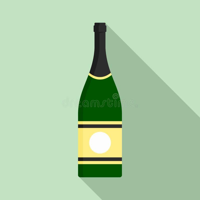 Icona del champagne dell'elite, stile piano illustrazione vettoriale