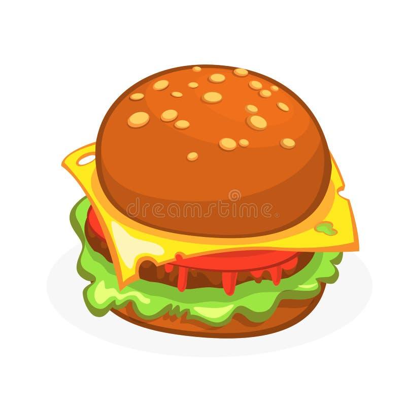 Icona del cheeseburger o dell'hamburger del fumetto illustrazione vettoriale