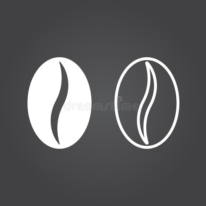 Icona del chicco di caffè Versioni del profilo e del solido Icone bianche su una d royalty illustrazione gratis
