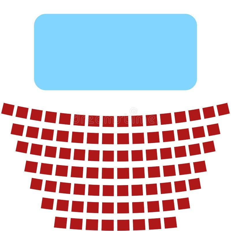 Icona del cinema, uno schermo blu e file dei sedili nel teatro illustrazione vettoriale