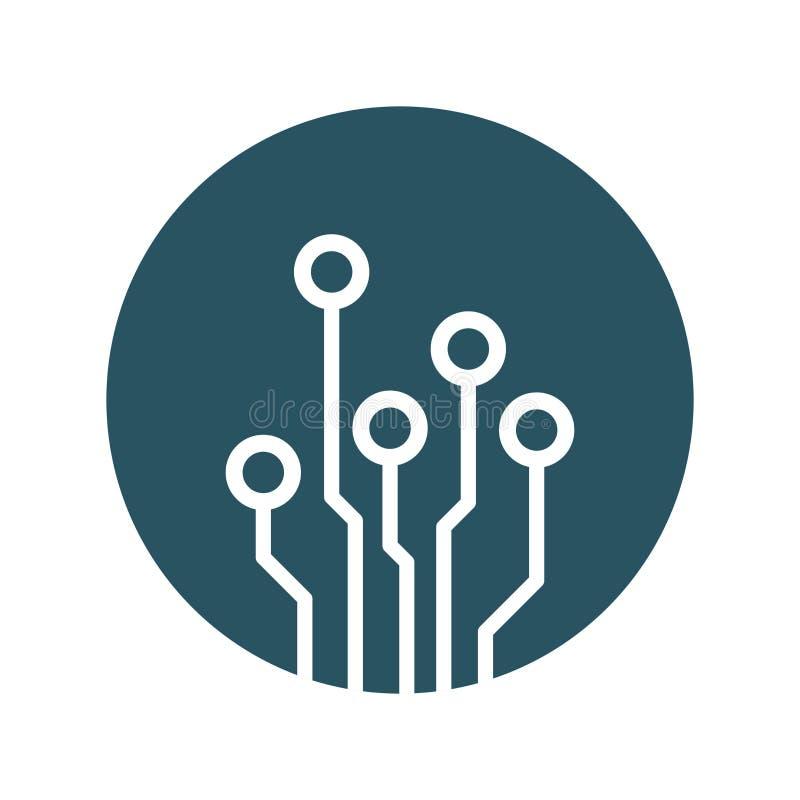 Icona del circuito Illustr piano di vettore di simbolo di schema di tecnologia illustrazione di stock