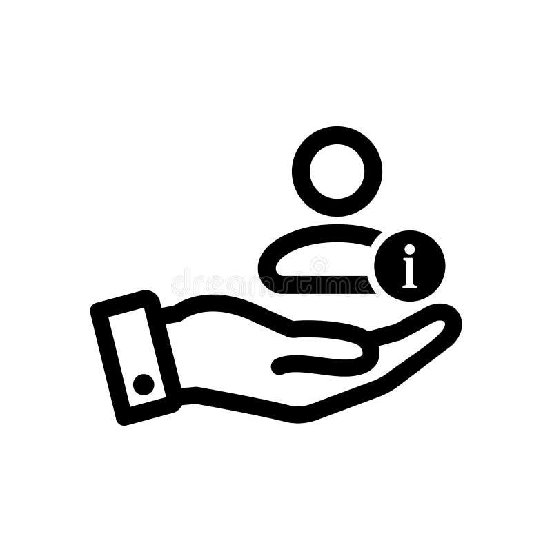 Icona del cliente con il segnale di informazione Icona del cliente e circa, FAQ, aiuto, simbolo di suggerimento illustrazione di stock