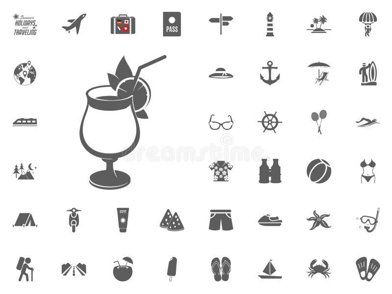 Icona del cocktail Bevanda di estate, icona del succo Vacanze estive ed icone di viaggio di vettore messe illustrazione di stock