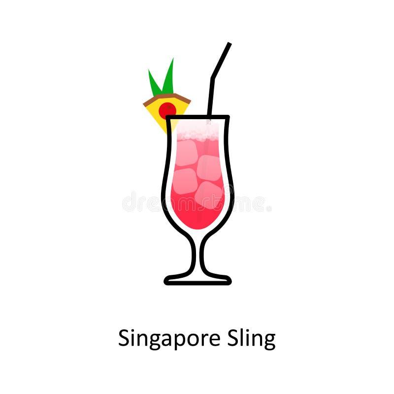 Icona del cocktail dell'imbracatura di Singapore nello stile piano illustrazione vettoriale