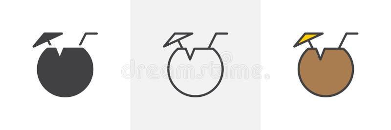 Icona del cocktail della noce di cocco royalty illustrazione gratis