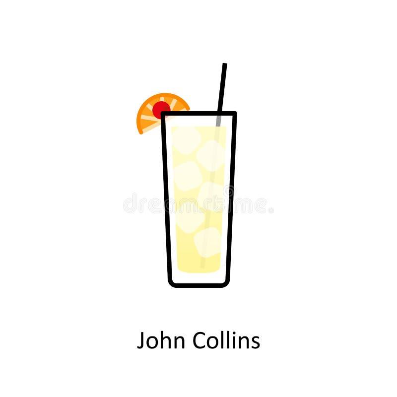Icona del cocktail di John Collins nello stile piano illustrazione di stock
